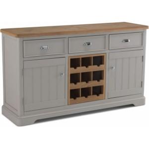 Summertown Painted Grey Furniture Large Sideboard Wine Rack