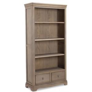 Vezelay Oak Furniture 2 Drawer Large Bookcase