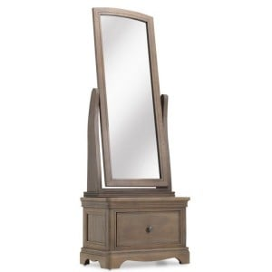 Vezelay Oak Furniture Cheval Mirror with Drawer