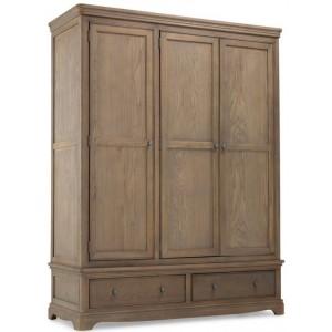 Vezelay Oak Furniture Triple Wardrobe with Drawer