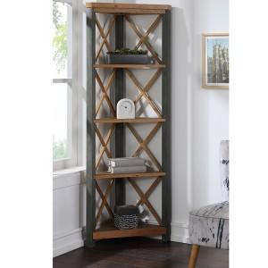 Urban Elegance Reclaimed Wood Furniture Large Corner Bookcase