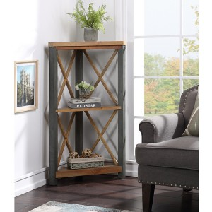 Urban Elegance Reclaimed Wood Furniture Small Corner Bookcase