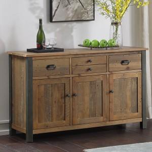 Urban Elegance Reclaimed Wood Furniture 4 Drawer 3 Door Sideboard
