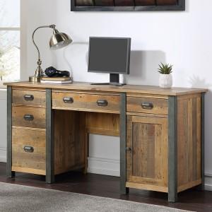 Urban Elegance Reclaimed Wood Furniture Twin Pedestal Home Office Desk - PRE ORDER