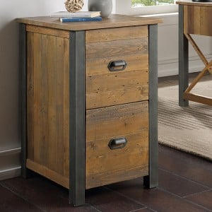 Urban Elegance Reclaimed Wood Furniture Two Drawer Filing Cabinet