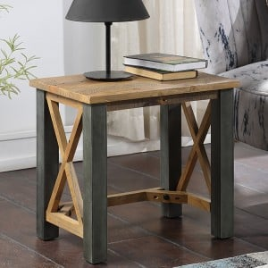 Urban Elegance Reclaimed Wood Furniture Open Front Side Lamp Table