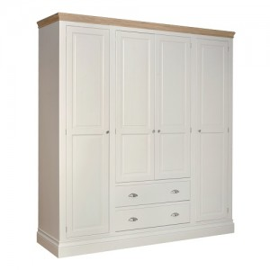 Lundy Painted Oak Furniture Quad Wardrobe with 2 Drawers