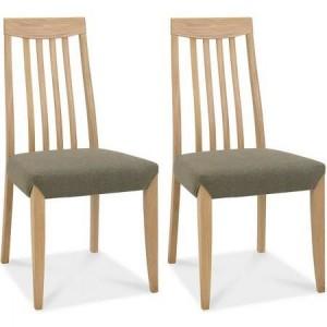Bentley Designs Bergen Oak Black Gold Slat Back Chair (Pair)