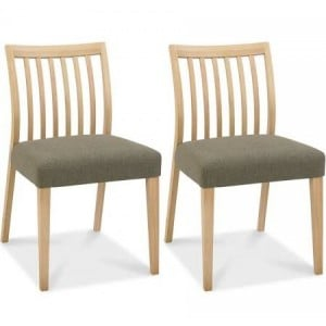 Bentley Designs Bergen Oak Black Gold Low Slat Back Chair (Pair)