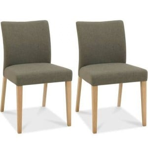 Bentley Designs Bergen Oak Black Gold Upholstered Chair (Pair)