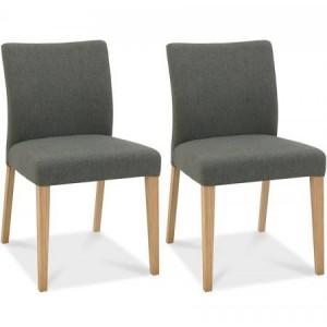 Bentley Designs Bergen Oak Cold Steel Upholstered Chair (Pair)