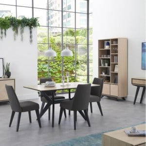 Bentley Designs Brunel 4 Seater Dining Table and Fixed Chair Set