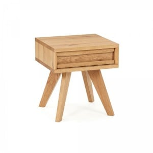 Cadell Rustic Oak Furniture Lamp Table with Drawer