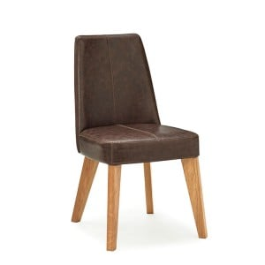 Cadell Rustic Oak Furniture Espresso Faux Leather Dining Chair Pair