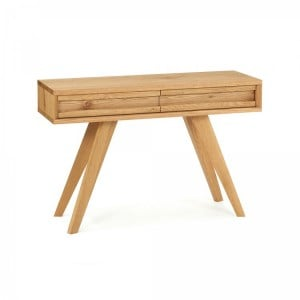 Cadell Rustic Oak Furniture Console Table with Drawers