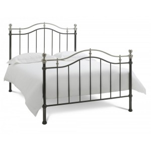 Bentley Designs Chloe Black and Shiny Nickel Bedstead Kingsize 5ft