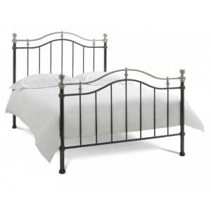 Bentley Designs Chloe Black and Shiny Nickel Bedstead Double 4ft6