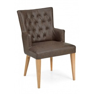 Bentley Designs High Park Furniture Arm Chair Pair Brown Leather