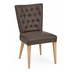 Bentley Designs High Park Furniture Dining Chair Pair Brown Leather