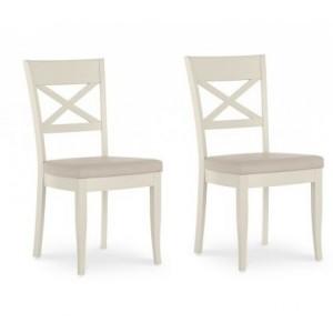 Montreux Oak & Antique White Furniture X Back Chair Pair