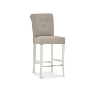 Montreux Soft Grey Painted Furniture Grey Bonded Leather Bar Stool Pair