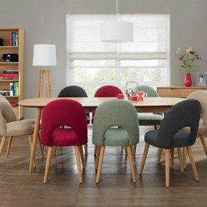 Bentley Designs Oslo Oak Furniture 4-8 Seater Extending Dining Set With Fabric Chairs