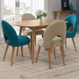 Bentley Designs Oslo Oak Furniture 2-4 Seater Dining Table Set With Fabric Chairs