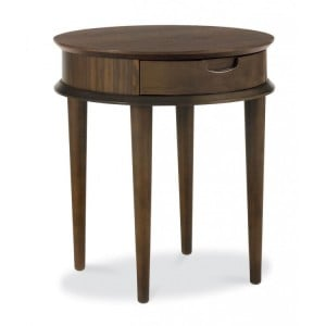 Bentley Designs Oslo Walnut Furniture Lamp Table with Drawer