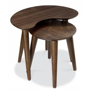 Bentley Designs Oslo Walnut Furniture Nest Of Lamp Tables