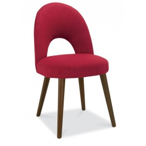 Bentley Designs Oslo Walnut Furniture Red Upholstered Chair Pair