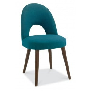 Bentley Designs Oslo Walnut Furniture Teal Upholstered Chair Pair