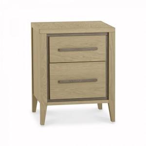 Bentley Rimini Aged & Weathered Oak Furniture 2 Drawer Bedside Table