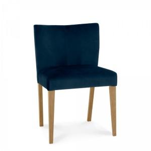 Bentley Designs Turin Light Oak Low Back Chair Velvet Pair