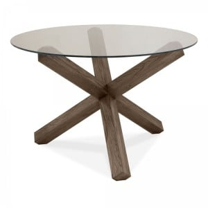Bentley Designs Turin Dark Oak Glass Top Round Table 4 Seater