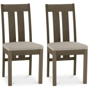 Bentley Designs Turin Dark Oak Slatted Chair Pair Pebble Grey Fabric