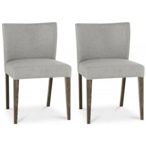 Bentley Designs Turin Dark Oak Low Back Chair Pair Pebble Grey Fabric