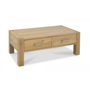 Bentley Designs Turin Light Oak Coffee Table with Drawers