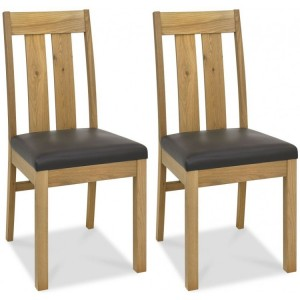 Bentley Designs Turin Light Oak Slatted Chair Pair