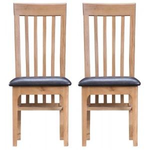 Bergen Oak Furniture Slat Back Chair PU Leather Seat Pair