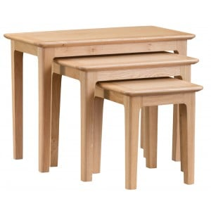 Bergen Oak Furniture Nest of 3 Tables