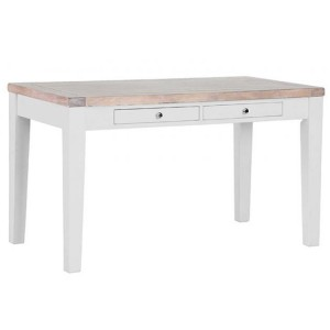 Chalked Oak And Light Grey Painted Furniture Rectangular Cafe Table with Drawers