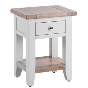 Chalked Oak And Light Grey Painted Furniture 1 Drawer 1 Shelf Bedside Table