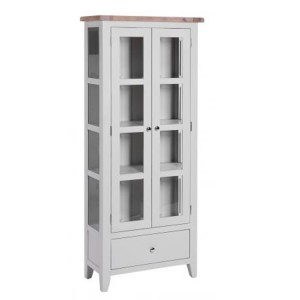 Chalked Oak And Light Grey Painted Furniture 1 Drawer 2 Door Glazed Display Cabinet