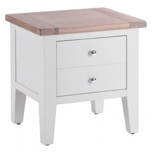 Chalked Oak And Light Grey Painted Furniture 1 Drawer Lamp Table