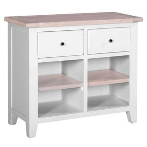 Chalked Oak And Light Grey Painted Furniture 2 Drawer Buffet Sideboard with 2 Shelves