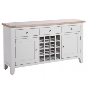 Chalked Oak And Light Grey Painted Furniture 3 Drawer 2 Door Wine Table