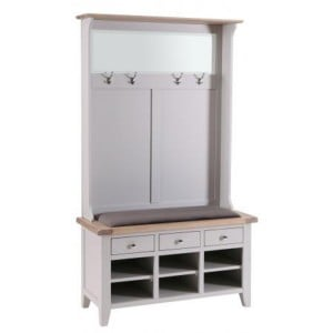 Chalked Oak And Light Grey Painted Furniture 3 Drawer Hall Tidy Bench with Coat Rack Mirror Shoe Storage and Plush Asphalt Seat