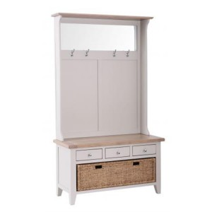 Chalked Oak And Light Grey Painted Furniture 3 Drawer Hall Tidy Bench with Coat Rack Mirror and Basket Drawer