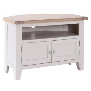Chalked Oak And Light Grey Painted Furniture 90 Degree 2 Door Corner TV Unit with 2 Shelves
