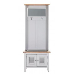 Chalked Oak And Light Grey Painted Furniture Hall Storage with Mirror and 2 Louvered Doors with Plush Slate Fabric Seat